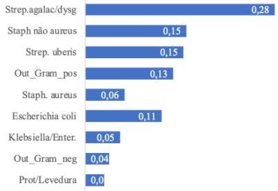Frequência de principais agentes causadores de mastite clínica